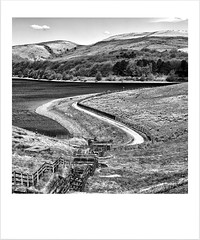 A state of position is a photographers composition! (Missy Jussy) Tags: composition path reservoir fields hillside unitedutilities piethornevalley piethorne rochdale landscape lancashire water fence northwest england mono monochrome bw blackwhite blackandwhite canon canon5dmarkll 50mm ef50mmf18ll canon50mm