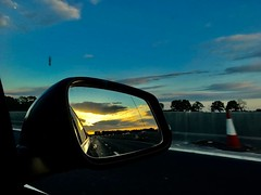 Evening drive back from #scotland to #London. #uk #europe #roadtrip #rearviewmirror #iphonephotography #iphonephoto