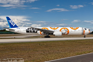 JA789A All Nippon Airways Boeing 777-381(ER) painted in Star Wars BB-8 special colours (FRA - EDDF)