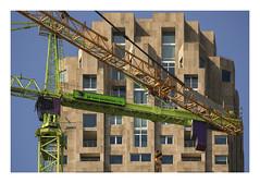 Crown and cranes (Urban Frontiers 150) (AurelioZen) Tags: europe netherlands zuidholland rotterdam kopvanzuid wilhelminapier neworleans cranes liebherr vaneesteren urbanrestructuring industrialrevitalization