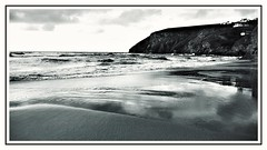 Mawgan Porth , Cornwall (Develew) Tags: sea seashore seascene seaview shoreline waves sunshine reflections coast cornwallnorthcoast coastline bw blackwhite monochrome cornwall kernow stmawgan sand wetsand sandybeach cliffs