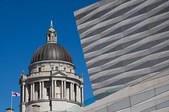 St.George's Day (Ged Slaughter Photography) Tags: stgeorge england english flag architecture gedslaughter modern contemporary juxtaposition liverpool contrasts contrast blue