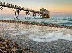 Selsey Lifeboat Station (Dave Sexton) Tags: selsey west sussex uk lifeboat boathouse pier golden hour beach pebbles water foam pools reflection pentax k1 dxoopticspro affinityphoto rnli