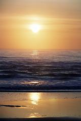 analog sunrise (#christopher#) Tags: film analog beach sea ocean sky clouds sun sunrise water seascape