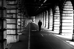 On the small bikes (pascalcolin1) Tags: paris13 homme man bercy pont bridge pontdebercy ombre shadow lumières light photoderue streetview urbanarte noiretblanc blackandwhite photopascalcolin