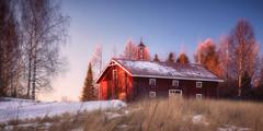 Countryside sunset (Olli Tasso) Tags: sunset auringonlasku ukaa tampere suomi finland landscape maisema maalaismaisema maaseutu countryside rural field hay pelto road house bell talo
