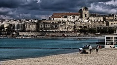 Cloudy (mazzottaalessandra) Tags: otranto italy clouds cloudy sea seaside mare nuvoloso contrasto canon urban città panorama view visuale sfumature people spiaggia beach tempesta storm