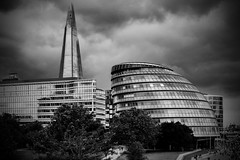poetry of glass (Dirty Thumper) Tags: sony nex nex5n mirrorless minolta md zoom 3570mm legacy manual monochrome bw street southbank london brexit shard city hall renzopiano normanfoster architecture sonyphotographing