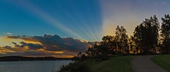 Lake  Sunset Rays (Sterling67) Tags: sunset lakemacquarie belmont green point reserve pano panorama 2470