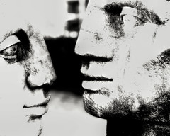 Face Off (beelzebub2011) Tags: canada britishcolumbia northvancouver bw monochrome artwork sculpture deepcove
