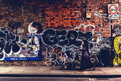 Brick Lane - East London (The Ultimate Photographer) Tags: bricklane shoreditch london tag grafittis pushchair baby lady urban modernart painting wallart bricks red muslim religion trendy eastlondon england uk olympus em1 omd waling street streetphotography modern friday art streetart roadsign old damaged advert tagging child pushing