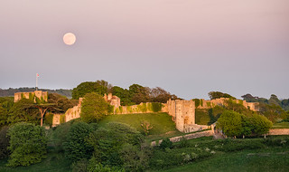 The Flower Moon rising over Carisbrooke Castle, Isle of Wight
