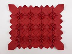 Flower Tessellation (Mukerji) (Michał Kosmulski) Tags: origami tessellation flower petals michałkosmulski meenakshimukerji wibalinpaper red