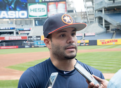 Astros second baseman Jose Altuve talks to reporters before Sunday's doubleheader at Yankee Stadium. (apardavila) Tags: houstonastros josealtuve mlb majorleaguebaseball newyorkyankees yankeestadium yankees yanks baseball sports