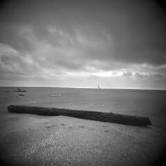The Ocean Desert #7 (LowerDarnley) Tags: holga oregon oregoncoast pistolriver beach ocean flat log sand clouds
