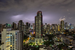 Springtime Thundersorms in Bangkok, Thailand (jennchanphotography) Tags: thunderstorm thunder lightning nature nightphotography night sky longexposure jennchanphotography thailand seasia southeast asia bangkok landscape cityscape buildings