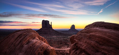 Monument Valley, The Mittens (Darcey Prout) Tags: monument valley utah mittens monumentvalley hdr sunrise 1424 nikon d800 nikond800 dawn ut us usa desert navajo mitt 14mm f10 blue sky westandeastmittens buttes az arizonautahborder explore explored