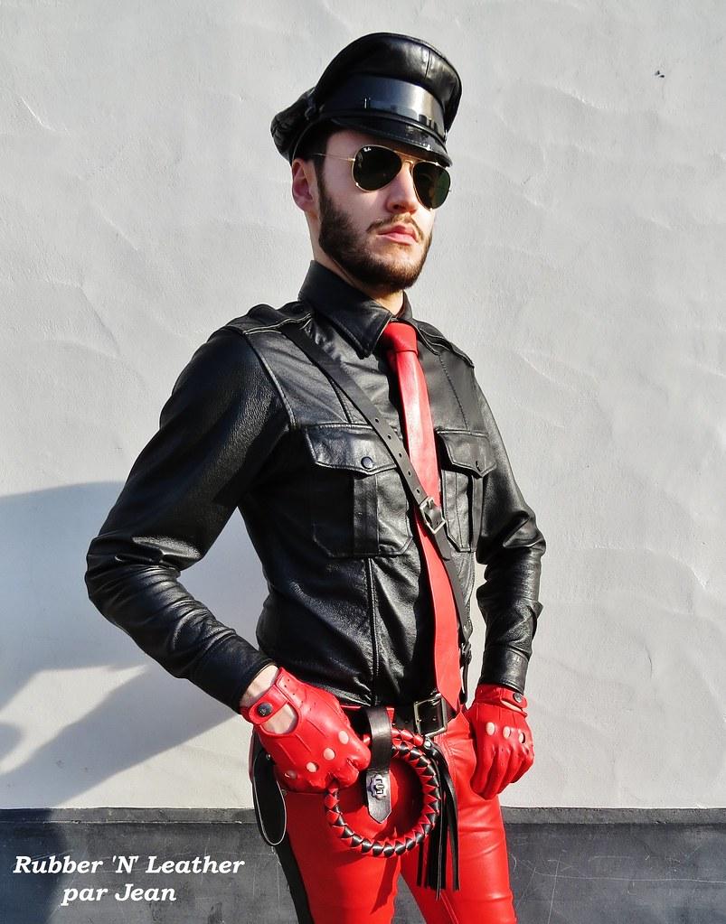 Black leather uniform gloves - Red And Black Leather Uniform Jeanlemieux91 Tags Red Rouge Rojo Black Noir Noires