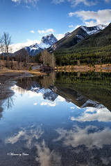 Three Sisters peek (Canon Queen Rocks (1,500,000 + views)) Tags: ridge clouds colours canada canmore weather reflections water lake quarrylake trees snow snowcapped mountains mothernature nature landscape landscapes sky scenery scenic ilobsterit momentsbycelinecom