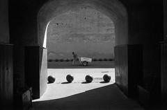 (Paysage du temps) Tags: 2017 20170330c film hp5 ilford leicam6 summicron35mm maroc morocco marrakech porte bab door remparts mur wall homme man charette spheres