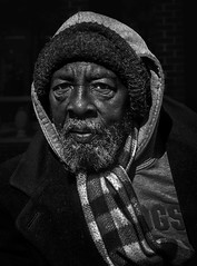 In His Eyes (Inge Vautrin Photography) Tags: man people person portrait streetphotography street beard hat eyes face outdoor outdoors outside cold scarf streetportrait blackandwhite bw mono monochrome oklahoma oklahomacity usa homeless