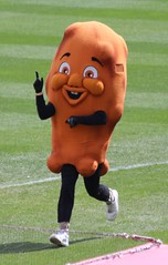 And your winner is....Chicken Wing (jmaxtours) Tags: buffalobisonsmascotrace buffalobisons buffalonewyork buffalo chickenwing wing winner racewinner mascot cocacolafield