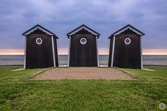 Triplets [FR] (ta92310) Tags: 2017 normandie europe france travel normandy wide falaises cliff spring printemps quiberville 76 seinemaritime sunset cloudy nuage longexposure nd8 canon 6d cabane hut beach plage