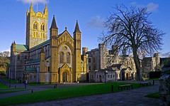 Evening Light at Buckfast Abbey - Dartmoor. (Gerry Hat Trick) Tags: buckfast abbey church worship tower monks calm peace monastic prayer dartmoor national park benedictine arches evening light sunshine shadows steeple spire twin towers