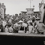 Fall of Saigon - 24 Mar 1975, Danang - South Vietnamese Navy landing craft fully loaded with refugees from Hue thumbnail