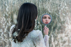 Looking Glass ({jessica drossin}) Tags: jessicadrossin portrait photography fine art mirror looking glass reflection presets acr lightroom weeds natural light girl dress wwwjessicadrossincom