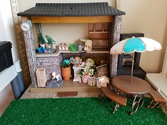 Garden shed (moonpiedumplin) Tags: barbie dream house mansion kitchen gloria doll remake repaint custom deluxe mattel furniture vintage pool redo grill 16 scale diorama yellow frame cottage ooak 80s cabinet curio fashion stools island nook pretty treasures fixin fun food yard bar mcdonalds flower pot shed garden dirt plant