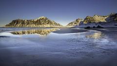 Winter in Lofoten -05- (Christian Wilt) Tags: flakstad norway lofoten no mountains ocean arctic arcticcircle winter snow beach blue