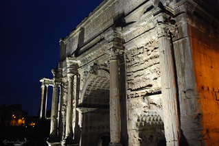 The triumphal arch of Septimius Severus at night