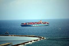 DSC_1384-61 (jjldickinson) Tags: nikond3300 106d3300 sanpedro losangeles sky cloud lookoutpointpark ocean water shippingcontainer container ship containership portoflosangeles harbor nikon55200mmf456gedifafsdxvrnikkor promaster52mmdigitalhdprotectionfilter