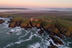 Misty morning sunrise over Slains Castle (iancowe) Tags: misty sunrise fog castle slains slainscastle morning sea north coast buchan dracula bramstoker cliff cliffs clifftop granite pink crudenbay cruden bay peterhead aberdeenshire scotland scottish drone aerial rock rocks dji phantom 4 pro ruin ruins