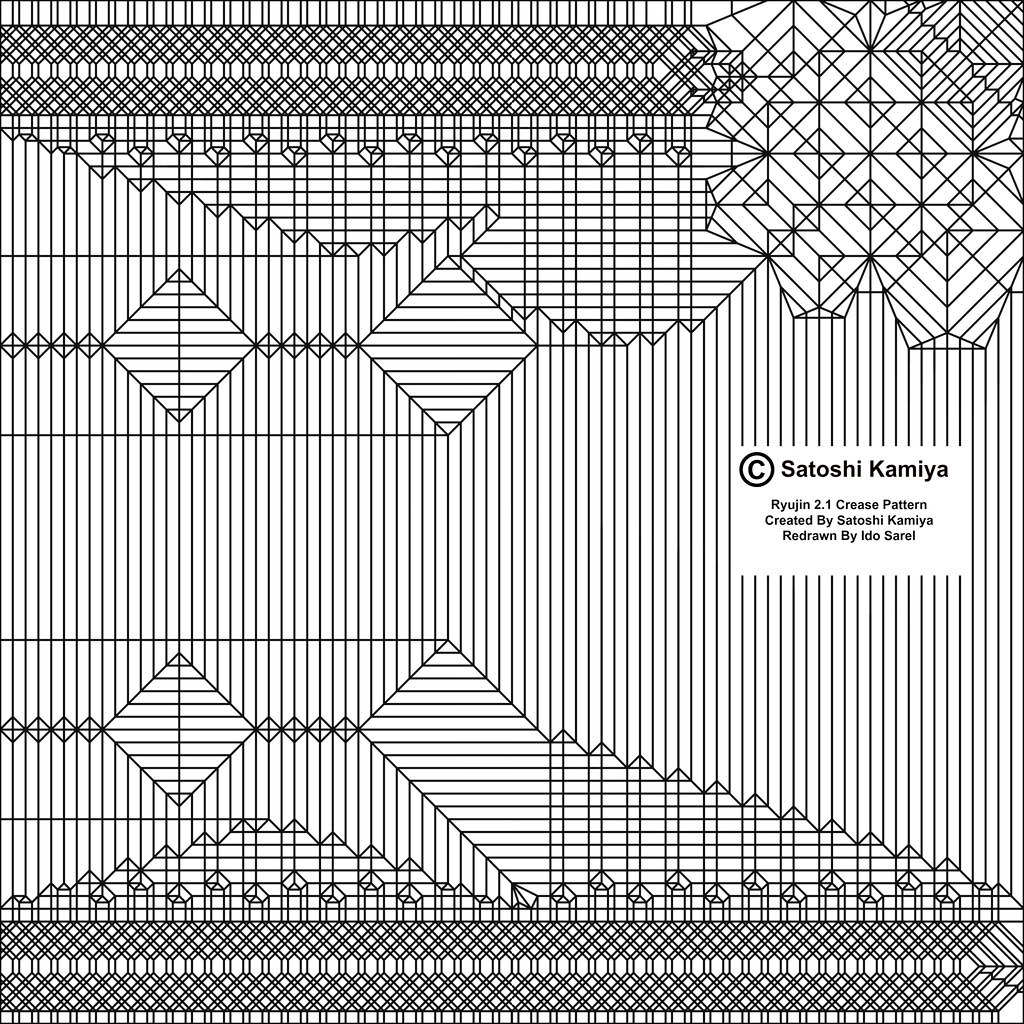 Origami Fiery Dragon Crease Pattern