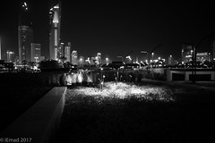 Let the lights of the night paint the canvas... (EHA73) Tags: summiluxm11424asph leica leicamm typ246 nightphotography blackandwhite bw cityscape skyline alshaheedpark lights skyscrapers buildings towers sharq kuwait kuwaitcity