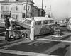 Ambulance accident circa 1957. 7th Street and MLK Jr. Way (Grove Street back then). Photo 1. (Radio Man Mike) Tags: oaklandpolice oaklandpd opd police carcrash collision accident ambulance