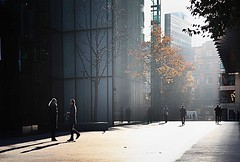 london morning (photoksenia) Tags: canon london morning light sun woman man street