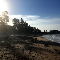 Manly surf beach. Shadows in late afternoon.