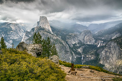 Waterfalls and Spring Showers (Kirk Lougheed) Tags: california halfdome mercedriver nevadafalls usa unitedstates vernalfalls washburnpoint yosemite yosemitenationalpark cloud landscape nationalpark outdoor rain river sky spring water