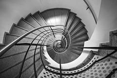 Spiral down (Elbmaedchen) Tags: staircase stairs treppenhaus treppenauge spirale berlin roundandround blackandwhite sw prenzlauer