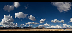 The Road Goes on Forever (Whitney Lake) Tags: panorama pano sunny happy landscape serene sky colorado prairie clouds mountains 2laneblacktop highway explored 57