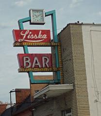 Lisska Bar (BadBlackdog9) Tags: signs oldsigns oldfashioned roadside americana vintage mansfield ohio panasonic zs3 neon bar barandgrill clock retro