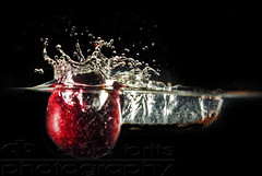 Splash of Cherry (anjabrits) Tags: fruit splash water dark red cherry drop food organic health natural refreshing wet liquid falling closeup nature eating fresh texture anjabritsphotography hss flashphotography highspeedsync studio colorful