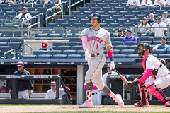 Astros shortstop Carlos Correa fouls off a pitch during the first inning. (apardavila) Tags: carloscorrea houstonastros mlb majorleaguebaseball newyorkyankees yankeestadium yankees yanks baseball sports