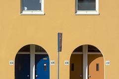 Number 104, 106, 108 and 110 (Jan van der Wolf) Tags: map138170v scheveningen doors deuren windows ramen numbers cijfers houses huizen huisnummers nummers 104 106 108 110 symmetric symmetry symmetrie dissymmetry sign verkeersbord housenumber huisnummerbord blue