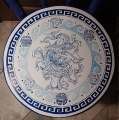 DRAGON Chair (Morganthorn) Tags: chair painted blue white dragon asian inspired medallion cloud leaf border