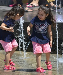 Good Times (swong95765) Tags: kids girls fun excitement water wet fountain play twins