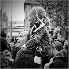 You'll never walk alone... (John Riper) Tags: johnriper street photography straatfotografie square vierkant bw black white zwartwit mono monochrome netherlands candid john riper rotterdam 010 supporters feyenoord bekerfinale beker cup knvb people crowd man young girl daughter happy soccer streetphotography